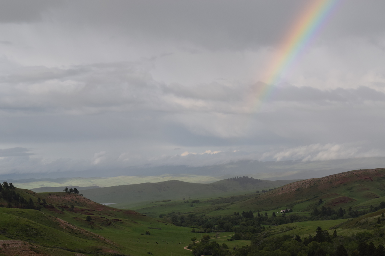 Rainbow down valley view